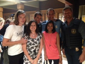 With the cast and friends on Haven PD set