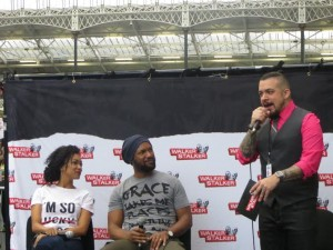 Sonequa Martin-Green & Kenric Green on stage with Dave Solo